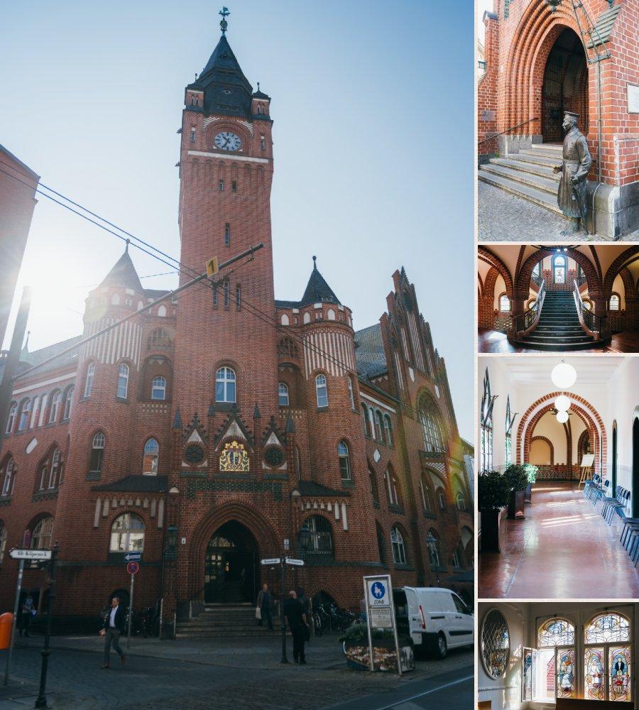Standesamt Köpenick mit Hauptmann von Köpenick und Details des Standesamtes wie die Treppe und die Buntglasfenster.