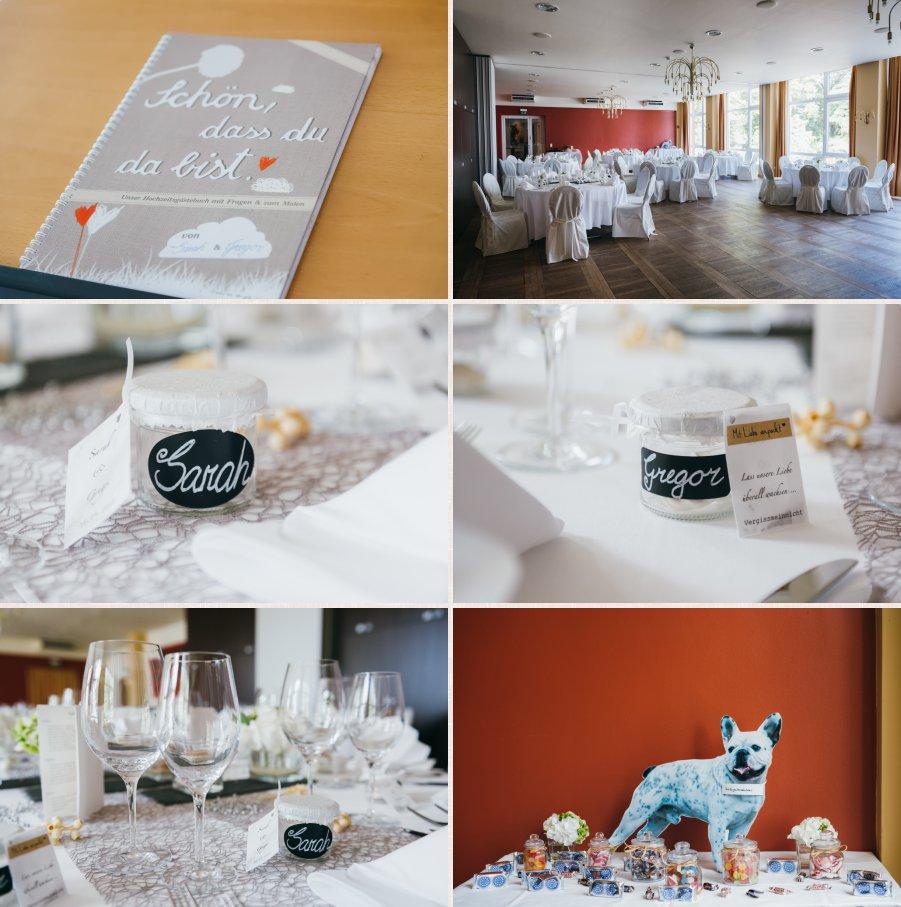 Totale und Detailaufnahmen des Raumes mit Candybar und Gästebuch