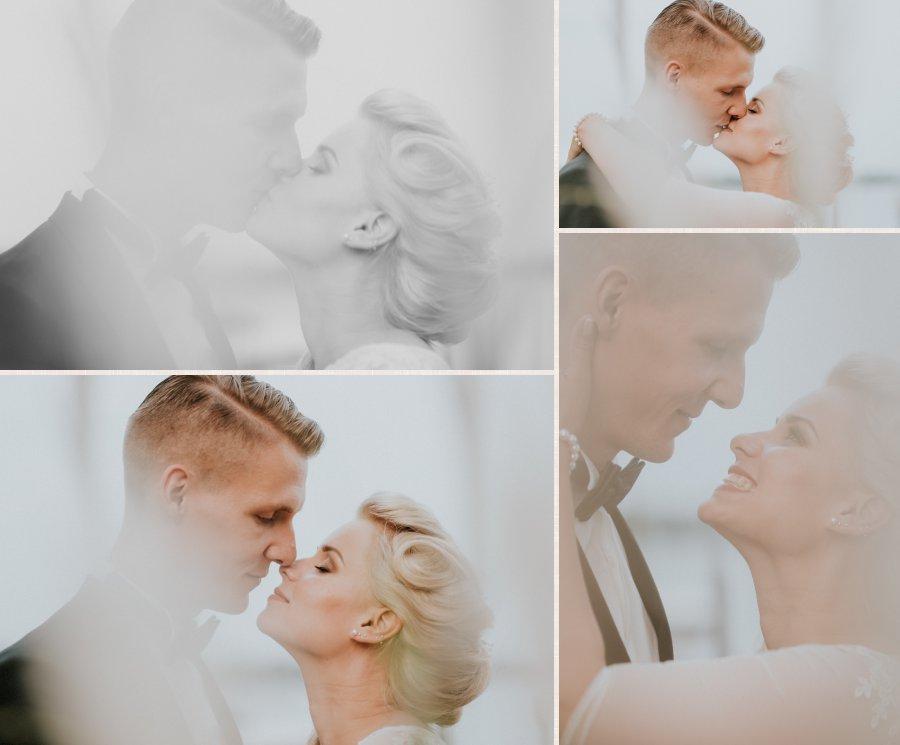 Nahaufnahme des Kusses mit Fotos vor und nach dem Kuss.
