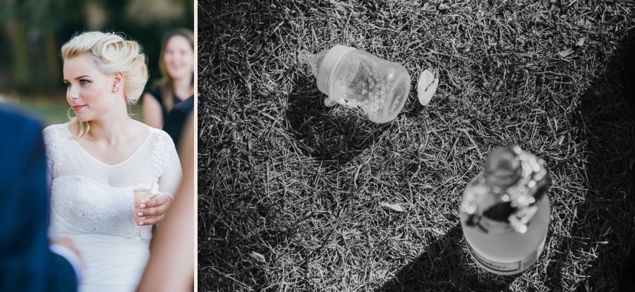 kleiner Sektempfang mit CloseUp von Sektflasche und Nuckelflasche.