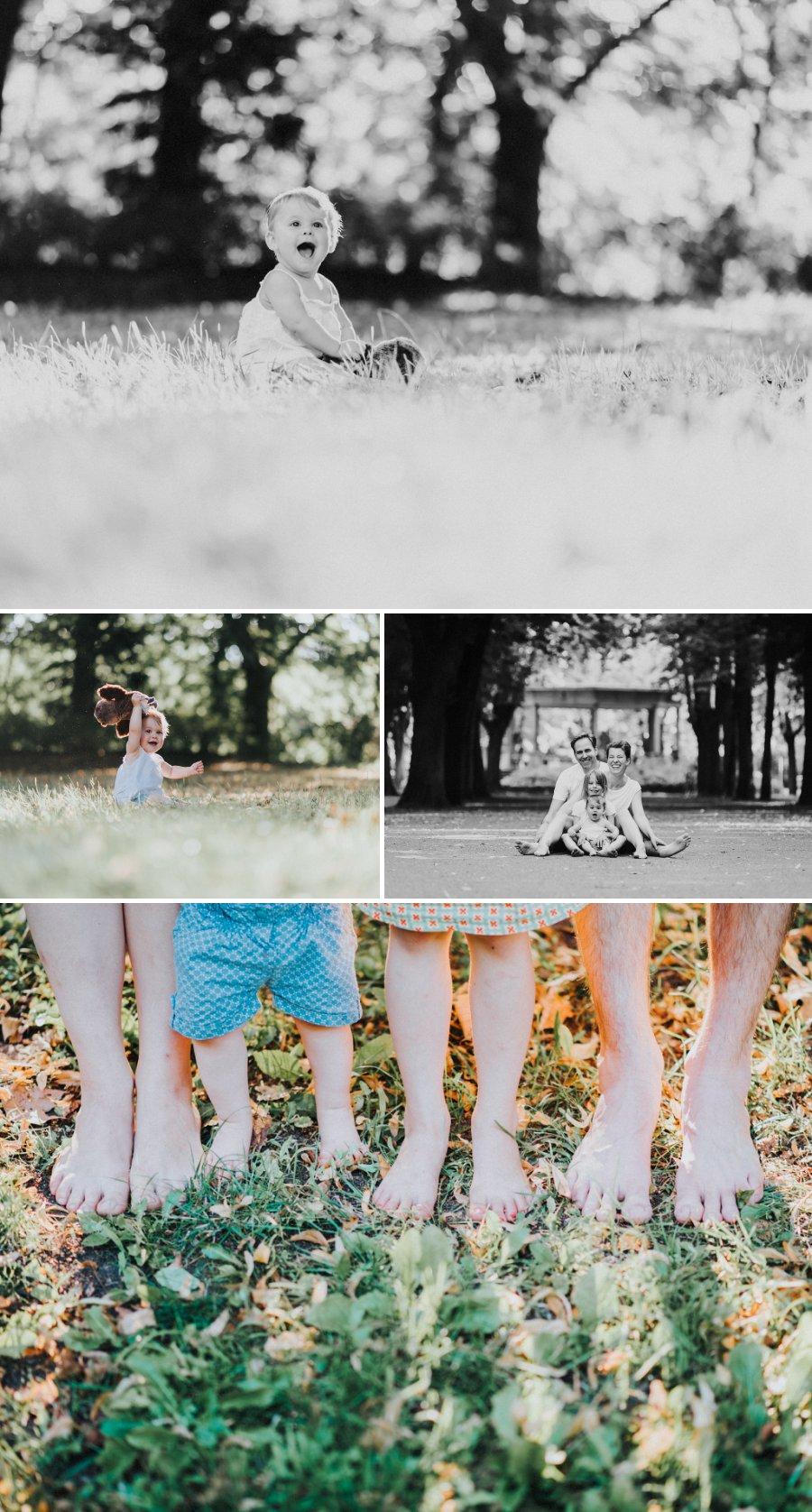 bunte Collage eines Familienshootings in Berlin mit CloseUp der Füße, auf den Boden sitzend, in der Sonne spielend